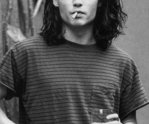 johnny depp, black and white, and cigarette image