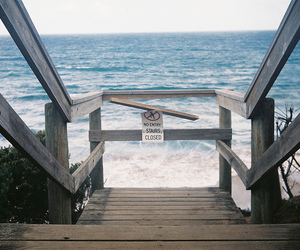 photography, sea, and stairs image