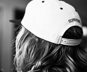supreme, black and white, and hat image