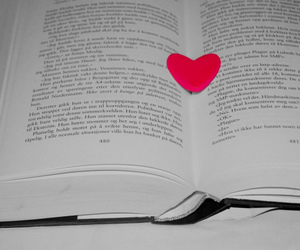 book, heart, and text image