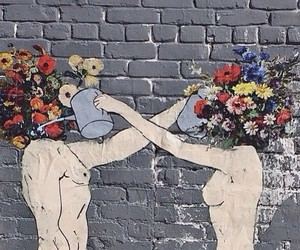 flowers, art, and couple image