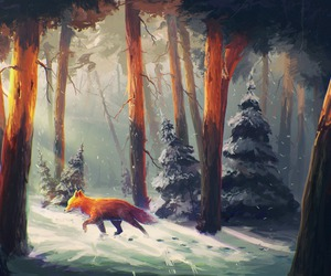 fox, forest, and snow image
