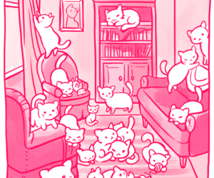 cats, pink, and kawaii image