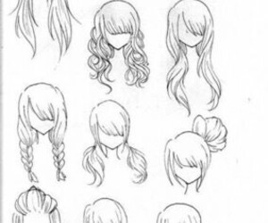 hair, anime, and draw image