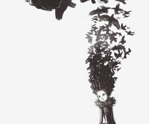 girl, bird, and art image