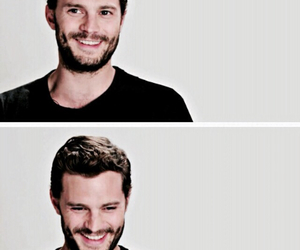 Jamie Dornan, smile, and fifty shades of grey image