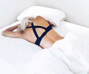 bed, black, and girl image