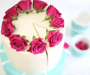 flowers, cake, and pink image