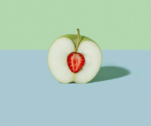 apple, strawberry, and green image