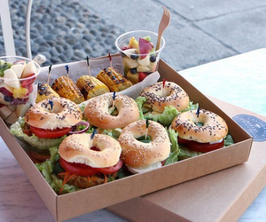 food, bagel, and fruit image