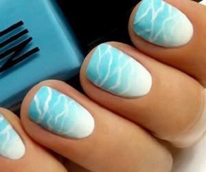 light blue, nails, and sea image