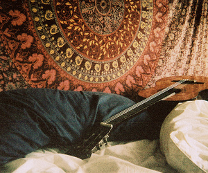 guitar, bed, and vintage image