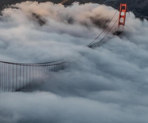 bridge, clouds, and san francisco image