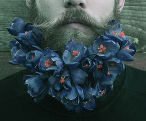 flowers, beard, and indie image