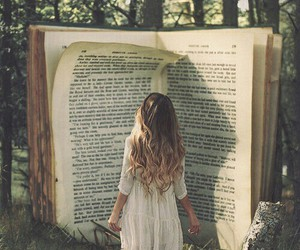 book, wood, and girl image