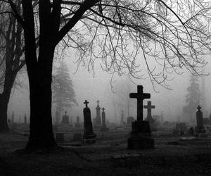 cemetery, black and white, and graveyard image