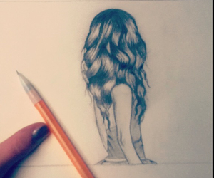 curls, drawing, and girl drawing image