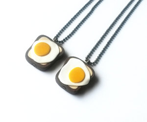 best friends, fried egg, and polymer clay image