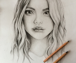 drawing, girl, and graphite image