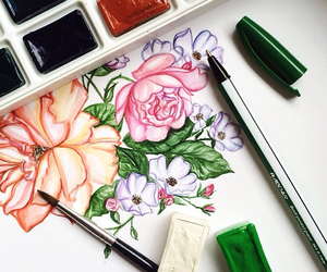 drawing, doll-memories, and flowers image