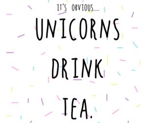 unicorn, tea, and girl image