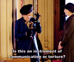 maggie smith, violet crawley, and telephone image