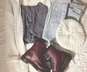 beanie, sweater, and boots image