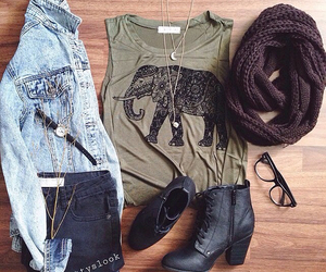 clothes, elephant, and jean image