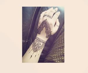 girl, tattoo, and mendhi image