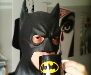 batman, cup, and mask image