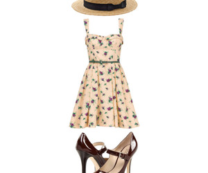 floral dress, hat, and mary jane image