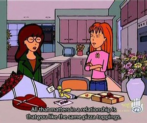 Daria, pizza, and Relationship image