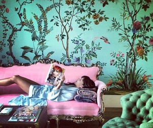 pink, sofa, and chic image