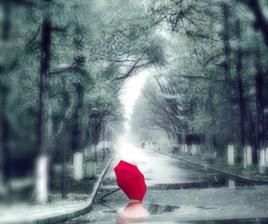 rain, umbrella, and red image
