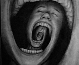 art, black and white, and mouth image