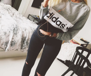 adidas, blue, and ripped jeans image
