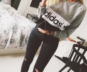 adidas, blue, and girl image