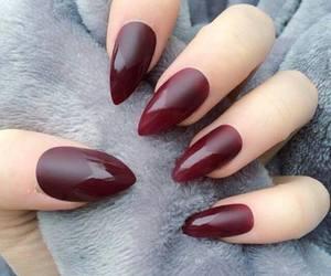 dark red, nailpolish, and women image