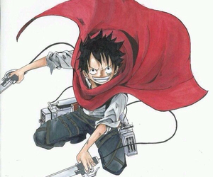 one piece, crossover, and luffy image