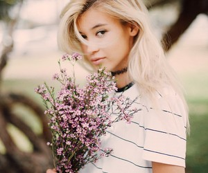 blond hair, flowers, and girl image