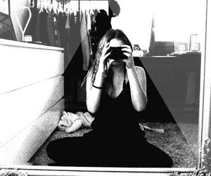 black and white, mirror, and camera image