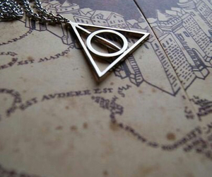harry potter, map, and deathly hallows image