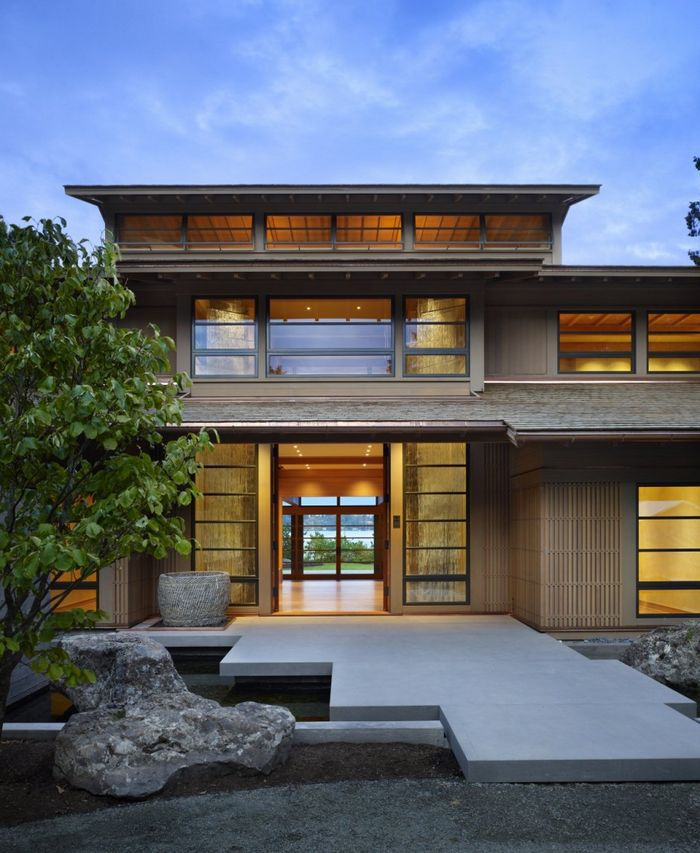 Amazing Japanese House Design Exterior With Concrete Walkway And Fish Pound Featuring Wooden Wall Exterior And Double Open Door Combine 2 Level House Of Captivating Japanese House Design Inspirations Japanese Modern Houses,Home Decoration Services For Birthday