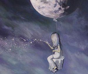 moon, stars, and drawing image