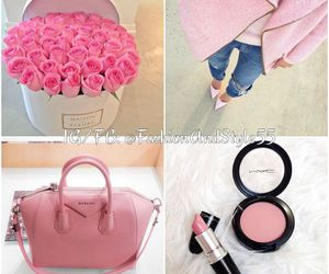 pink flowers, pink lipstick, and pink coat image