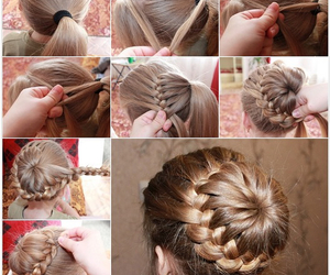 braid, bun, and hairstyle image