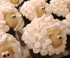 sheep, cupcake, and food image