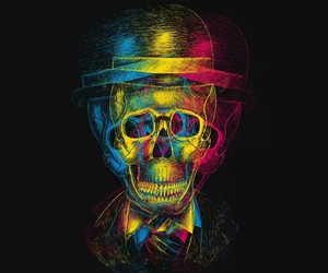 red, skull, and blue image