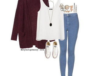 converse, maroon cardigan, and ootd image