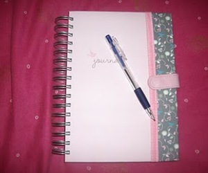 journal, pen, and pink image